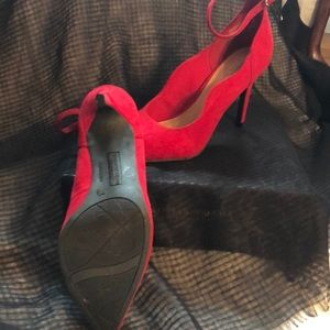 NW Red Suede Ankle Strap Heels